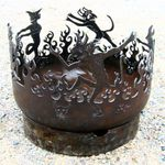 outdoor fire pit, recycled firepit, steel firebowl, storytelling