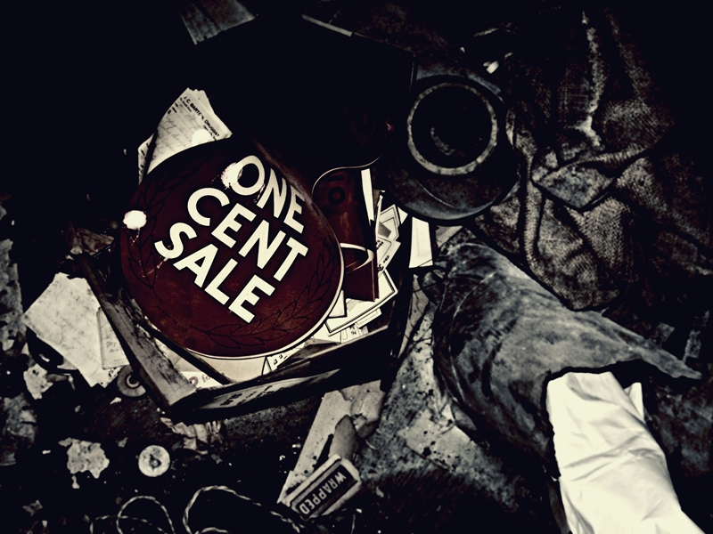 One cent sale, sale, abandoned, sign, marcie vargas