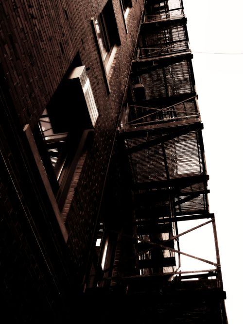 Fire escape, fire, escape, building, steps, stairs, wall, urban, city, industrial, marcie vargas