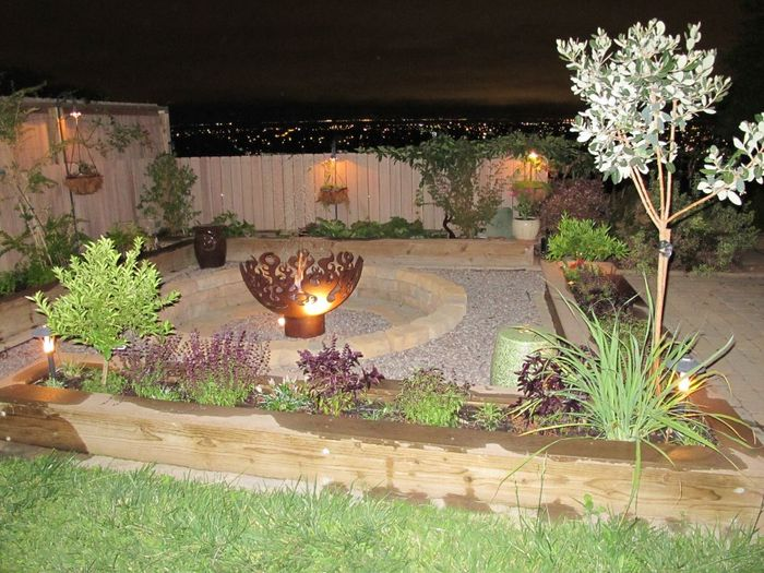 """Great Bowl O Fire Firebowl round stone and gravel patio"