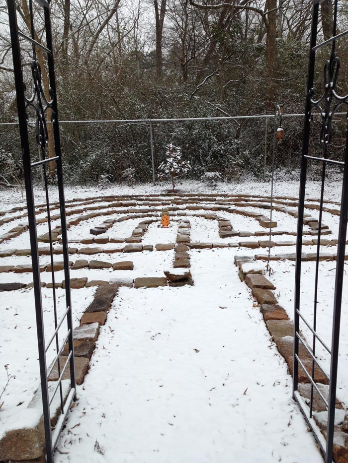 Eternal Flame Sculpture in labyrinth at Yoga Studio