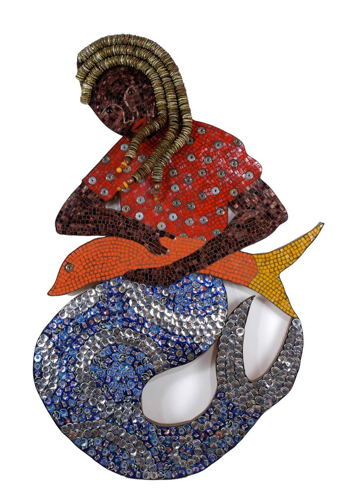 La Siren bottlecap mosaic mermaid