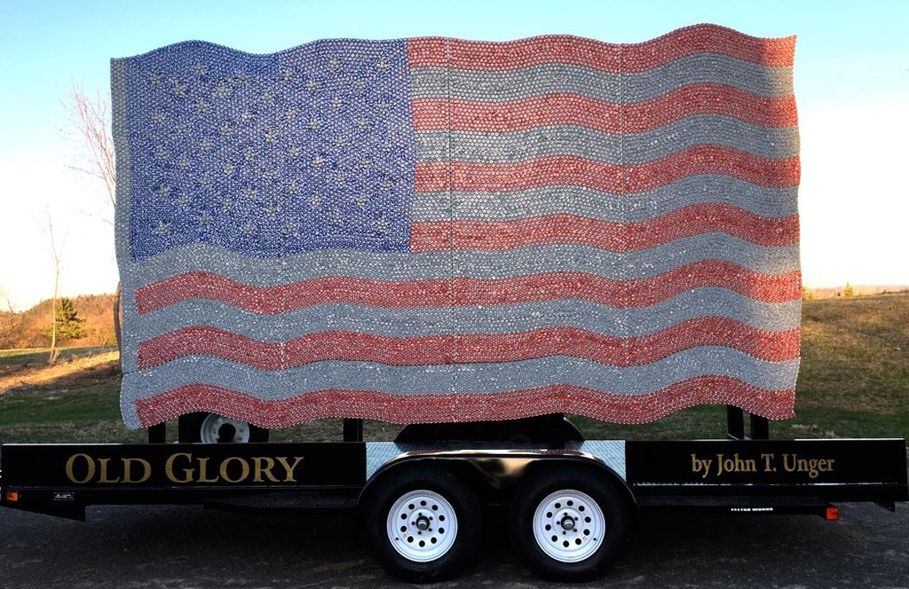 Old Glory American flag made of 20,000 Budweiser bottle caps by artist John T. Unger