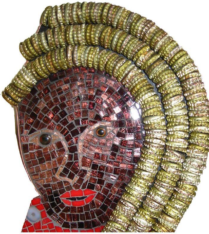 La Siren bottlecap mosaic mermaid detail