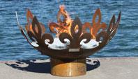 Fiery Fleur-de-Lis Modern Steel Firebowl