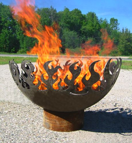 ArtBuzz: The Great Bowl O' Fire: Recycled Steel Fire Pit With Flame Motif