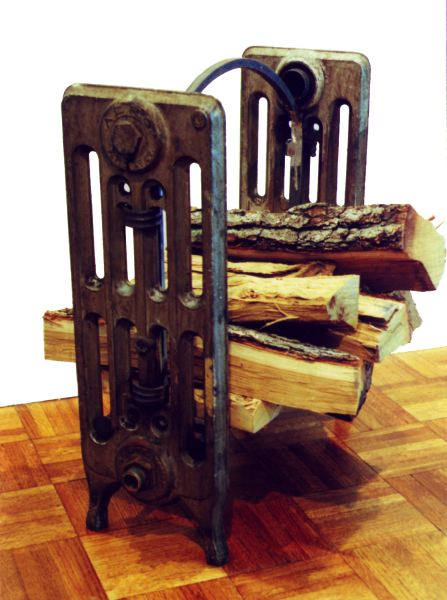 recycled radiator firewood cradle