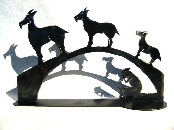 3 Billy goats gruff sculpture